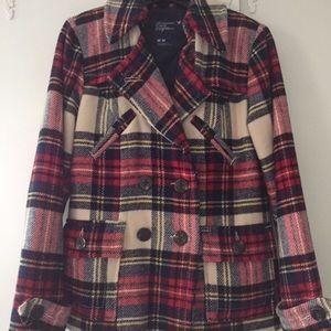 American eagle red plaid pea coat